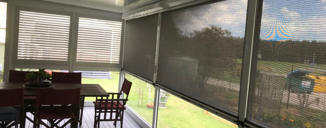 Zip Track exterior straight drop blind as well as exterior aluminium shutter.